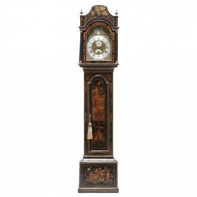 An English Chinoiserie Decorated Tall Case Clock