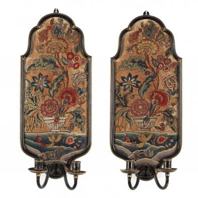 Pair of William & Mary Needlepoint, Gilt and Painted Wall Sconces