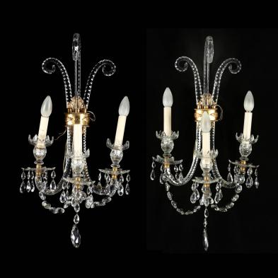 Pair of Belle Epoque Cut Glass Sconces