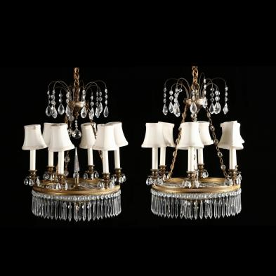 Pair of Custom Neoclassical Style Chandeliers