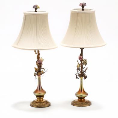 att. Steuben, Pair of Boudoir Lamps