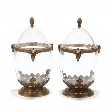 A Pair of Glass Champagne Cellars with Ormolu Mounts