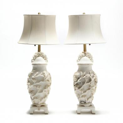 Pair of Carved Marble Urn Form Table Lamps