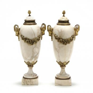 Pair of Neoclassical Marble Mantel Urns