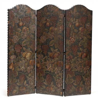 Spanish Leather Floor Screen