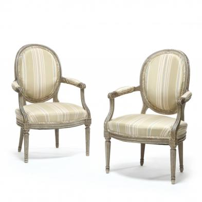 A Pair of Louis XVI Style Painted Fauteuil