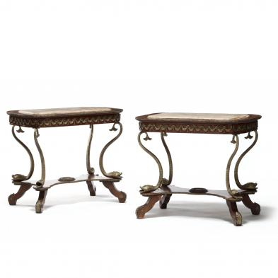 Pair of French Marble Top Tables in the Napoleonic Style