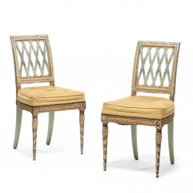 A Pair of Louis XVI Style Painted Ballroom Chairs