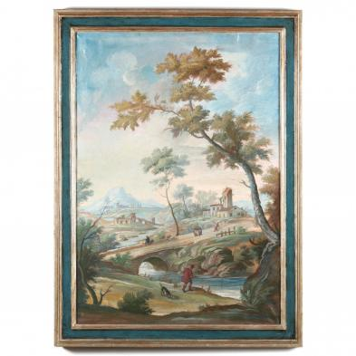 Italian Landscape Painting with Fisherman and Village