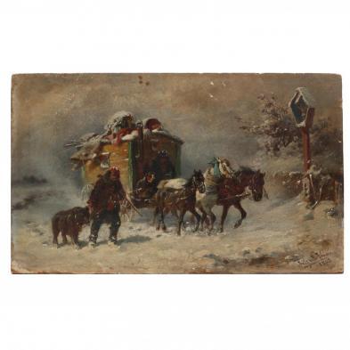 Fritz van der Venne (German, 1873-1936), Circus Wagon in Winter