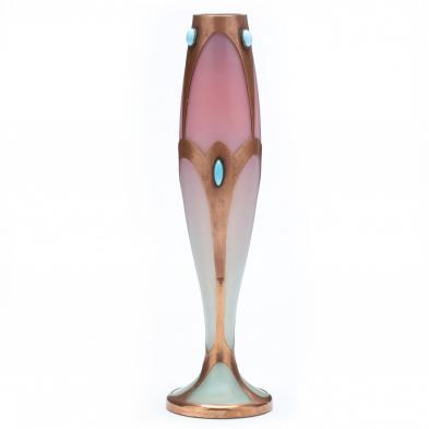 Bohemian Secessionist Copper Overlay Glass Vase
