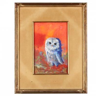 Kelly Fearing (AR/TX, 1918-2011), Little Owl Against Orange Sky