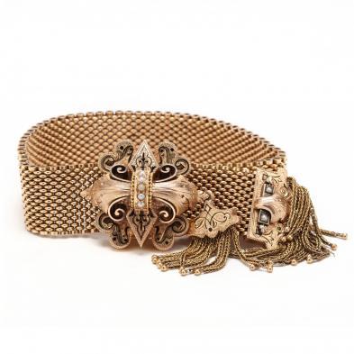 Victorian Gold, Seed Pearl, and Enamel Slide Bracelet