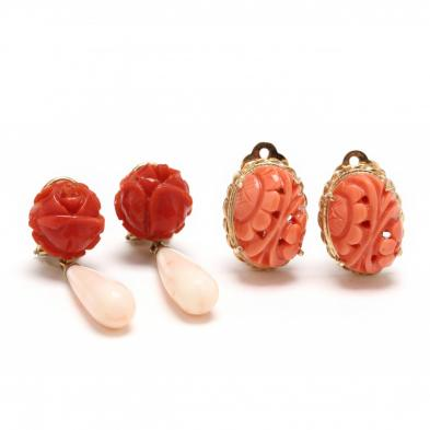 Two Pairs of Vintage Gold and Coral Earrings