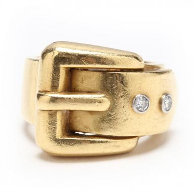 18KT Gold and Diamond Buckle Ring