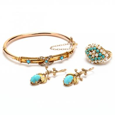 Three Vintage Gold and Turquoise Jewelry Items