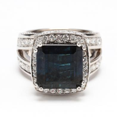 18KT White Gold, Blue Tourmaline, and Diamond Ring