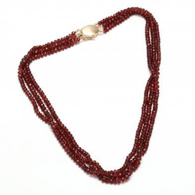 14KT Multi Strand Garnet Bead Necklace, Gump's