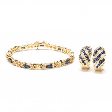 14KT Gold, Sapphire, and Diamond Bracelet and Earrings