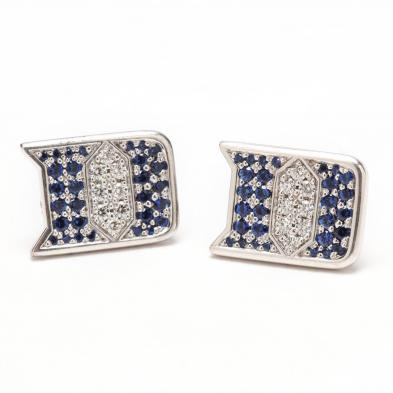 18KT Sapphire, and Diamond Duke University Themed Earrings