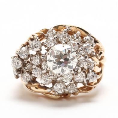 14KT Old European Cut Diamond Dinner Ring