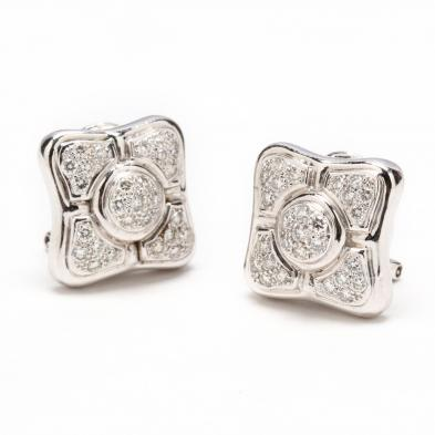 18KT White Gold and Diamond Earrings, Salavetti