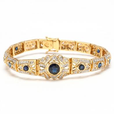 Art Deco Style 18KT Diamond and Sapphire Bracelet