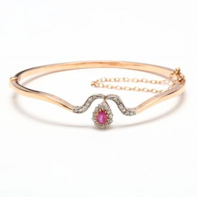 Antique 14KT Pink Sapphire and Diamond Bracelet