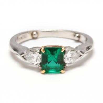 Platinum, 18KT Gold, Emerald and Diamond Ring