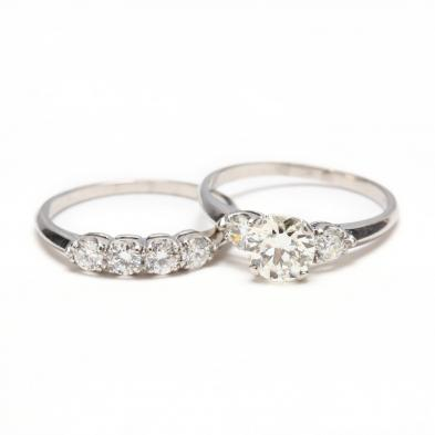 Vintage Platinum and Diamond Wedding Set