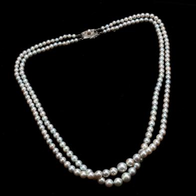 Double Strand Pearl Necklace, Mikimoto
