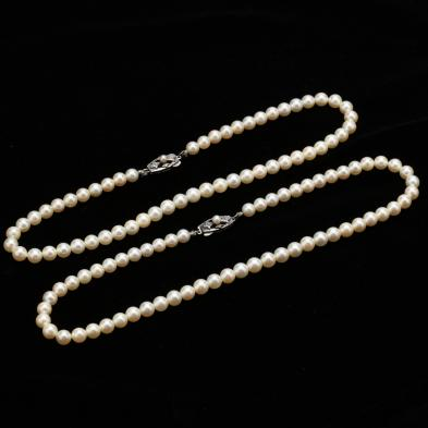 Two Vintage Pearl Necklaces, Mikimoto