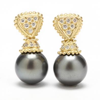 18KT Tahitian Pearl and Diamond Earrings, Doris Panos