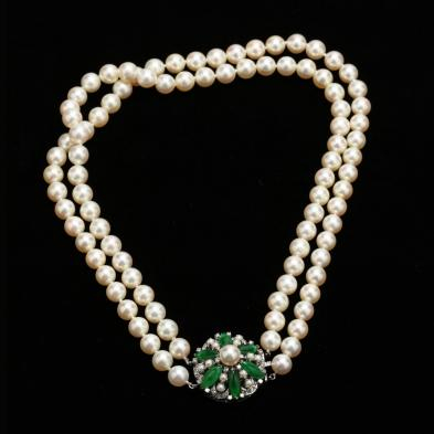 Vintage Double Strand Akoya Pearl Necklace with Platinum, Jade, and Diamond Clasp