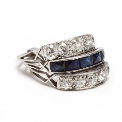 Antique Platinum, Diamond, and Sapphire Wedding Set