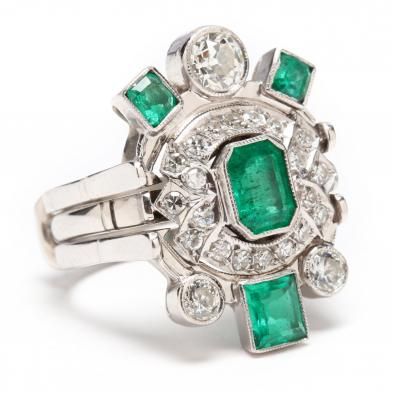 Vintage 14KT White Gold, Emerald, and Diamond Ring and Jacket