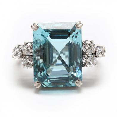 Vintage Platinum, White Gold, Aquamarine, and Diamond Ring