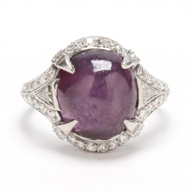 Art Deco Platinum, Ceylon Purple Star Sapphire, and Diamond Ring