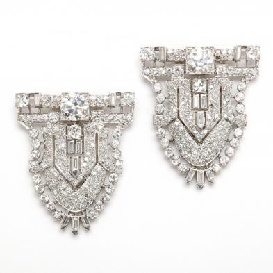 A Pair of Platinum and Diamond Brooch Clips