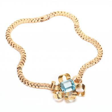 Retro 18KT Gold and Aquamarine Necklace