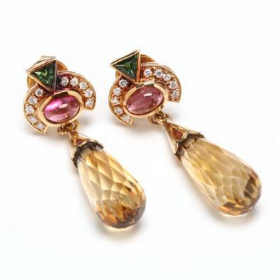 18KT Gold and Gem Set Pendant Earrings, Hans-Dieter Haag
