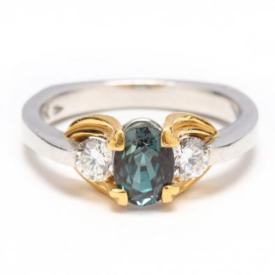 Platinum, 22KT Gold, Alexandrite, and Diamond Ring