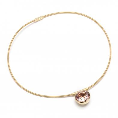 18KT Gold and Morganite Pendant and Coil Necklace, Georg Spreng