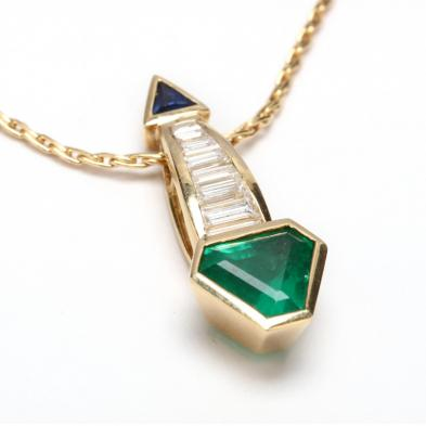 18KT Gold, Emerald, Diamond, and Sapphire Pendant Necklace, Barnett Robinson