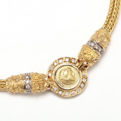18KT Coin and Gem Set Necklace