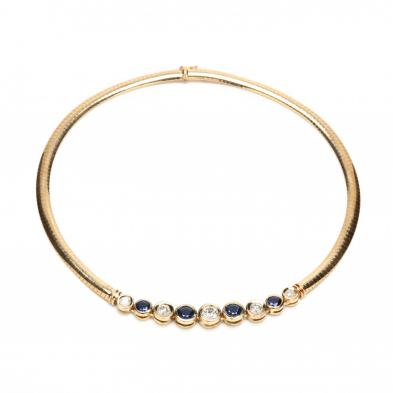 14KT Diamond and Sapphire Omega Necklace