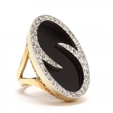 18KT Onyx and Diamond Ring