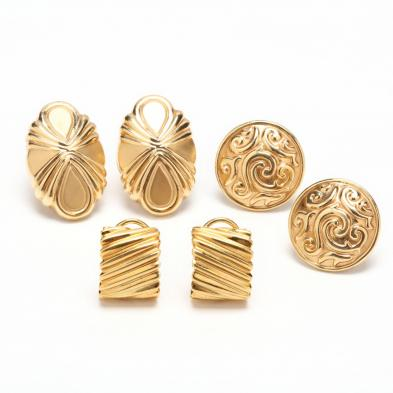 Three Pairs of Gold Earrings