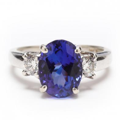 14KT White Gold, Tanzanite, and Diamond Ring