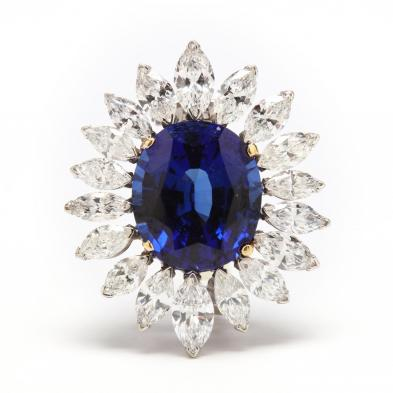 14KT White Gold, Diamond, and Synthetic Sapphire Brooch